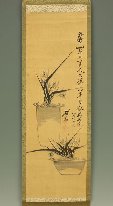 Handpainted hanging scroll after Zheng Banqiao - China- second half 20th