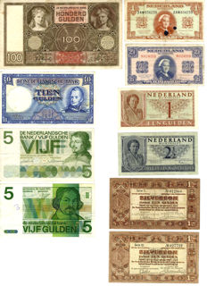 Netherlands - collection of various notes 1-100 guilders, (1938-1973) (in total 10 pieces)