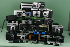 Lot of 28 miscellaneous cameras. Including Minolta, Agfa, Kodak, Certo, Indo, Bilora.