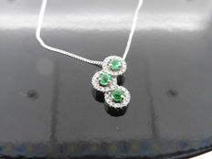 18k Gold Emerald and Diamond Drop Pendant