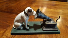 His Master's Voice  (HMV) cast iron dog & gramophone by Rogers Foundry, Birmingham - Nipper with a gramophone - England - ca 1970