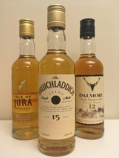3 bottles - 33cl - discontinued releases of Bruichladdich, Jura, Dalmore