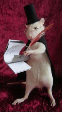 "Taxidermy Curiosity - ""Victorian Rat-Secretary"" - Rattus sp - 16cm"