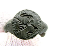 Rare Viking Period Mythological Seal Ring with Raven - 16mm