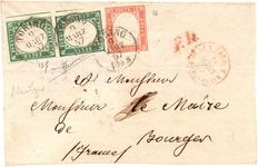 Italy - 1857 - Letter with pair of 5 Cent + 40 Cent