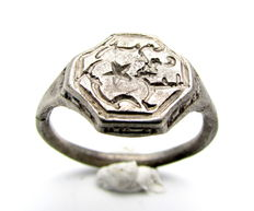 Crusaders Holy Land Silver Seal Ring with Star Engraved on Bezel - 18 mm