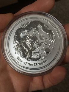 Australia - 8 AUD $ - Lunar II year of the dragon 2012 - 5 oz - 999 fine silver