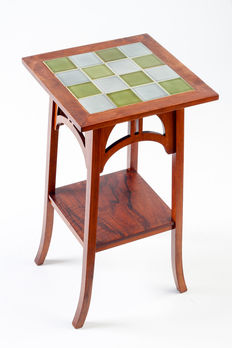 High plant table with old tiles in two colours by Villeroy and Boch