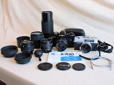 Minolta X700 Single-lens reflex Camera and Konica C35 Compact Camera