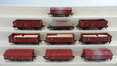 Fleischmann H0 - 5206/5210/5569/5205 - 10-piece set with tipper/open boxcar/closed freight carriages and one cleaning car of the DB
