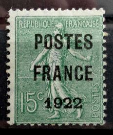 "France 1922 - No. 37, pre-cancelled France 1922, ""Semeuse"", 15c - Signed JF. Brown."