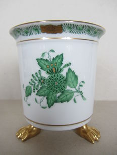 Herend Porcelain - Gold-footed green Chinese bouquet vase