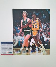 Magic Johnson firma a mano fotografía 8x10cm junto Larry Bird