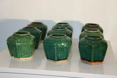 Lot of nine piece Chinese ginger jars - Celadon glaze