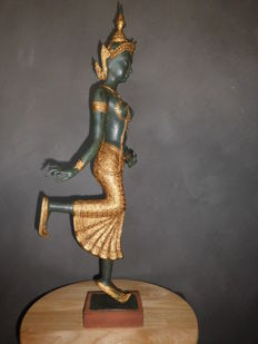 Large, bronze Apsara, female dancer - Height: 72 cm - Thailand - 2nd Part of the 20th century