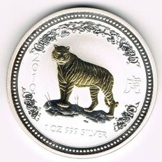 Australia - 1 Dollar 2007 'Year of the Tiger 2010' - 1oz Silver and gold plated