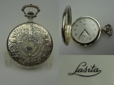 Lasita silver pocket watch with savonette with separate second hand – men – analogue – 1980s