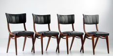 Designer unknown - Four stylish mid-century modern seats, made in faux leather