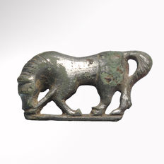 Roman Silver Plated Fibula Brooch in the Form of a Horse, 3.6 cm L