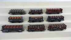 Fleischmann/Kleinbahn/Piko/Liliput/Rivarossi  - 5/145-01/289164/20700/522003/5220 - 9 piece acid glass bottles wagons of the DB/DR/OBB/NS