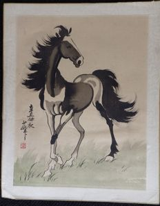 Artist to recognise - Horse printed on silk - China - 1st half 20th century