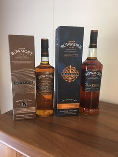 2 bottles - Bowmore White Sands 17 Years 43%, 700ml, and Bowmore Black Rock  40%, 1 ltr.