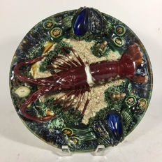 Unknown artist - style majolica Palissy lobster plate
