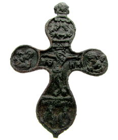 Late Medieval Cross Pendant with Elaborate Religious Scenes  - 80mm