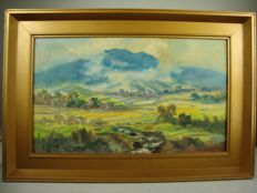 S. Djupriany (1929) - Landscape at the Gunung Gede mountain - Oil paint on canvas - Indonesia