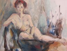 Unknown (20th century)-naked woman on sofa