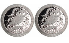 New Zealand - 2 x 2 dollar Niue - Owl of Athens / Athenian owl 2017 - stackable - 999 fine silver