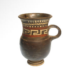 Greek Apulian Pottery Mug Vessel, 11.3 cm H