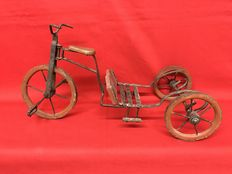 Tricycle in wrought iron and wood-43 Cm