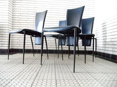 Arper – Dining room chairs in dark blue leather