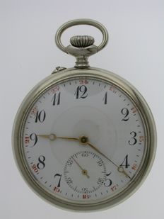 Steel Open Face Pocket Watch Swiss 1920