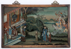 A large reverse glass painting - China - 19th century