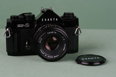 Exakta HS-2 35mm SLR camera (black) & Exakta 1:2 50mm lens. Made in Japan. 1980s.