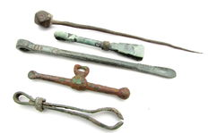 Selection of 5 Ancient Roman Bronze Medical / Cosmetic Tools  (5)