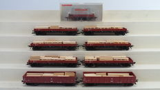 Fleischmann H0 - 5569/5281/5282 - 9-piece flat car/open boxcar and one cleaning carriage of the DB