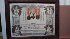 Framed certificate in memory of the Great War + 3 medals WW1