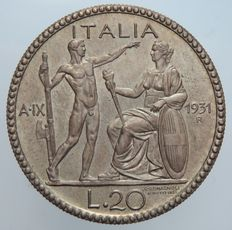 """Kingdom of Italy – 20 Lire 1931 """"Littore"""" Victor Emmanuel III – 50 coins minted – silver"""