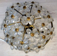 Unknown designer – Ceiling light in heavy brass with brightly coloured, facet cut, crystal flowers.