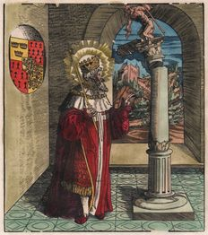 Leonhard Beck (1475-1542) - St Lucius, King of Britain in front of a column surmounted with a satyr - 1518