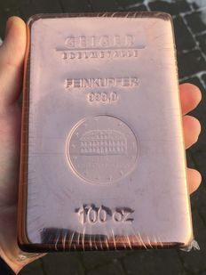 Germany - 100 oz copper bars 3.11 kg /3110 grams, 999 copper - cast castle Güldengossa edition