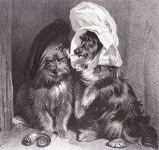 Five prints of dogs by  Sir E. Landseer ( 1802 - 1873 ) Safe  -  Comical dogs - The dog and the shadow - The pet of the Duchess - The beggar