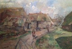 E.B. van Dulmen Krumpelman (1897 - 1987) - On the farmyard