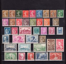France 1932/1935 - Complete years from 1932 to 1935 (38 values) - Yvert no. 277A/308.