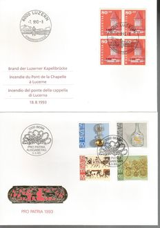 Switzerland, FDC – 148 First Day Covers, almost all with quartets of stamps. Years: 1993, 1994, 1995, 1996.