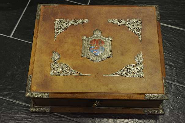 Empress Zita von Bourbon-Parma - a leather-bound small box with silver fittings and an enamelled imperial coat of arms - probably Austria - circa 1915