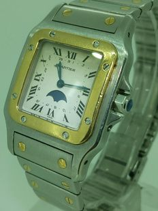 Cartier Santos, curved, moon phases Ref. 119901 – Unisex watch – year 1985